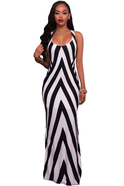 Black and White Stripes Cutout Back Sleeveless Maxi Dress -