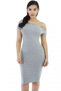 Gray Bodycon Midi Dress - 8e59fba5acf7