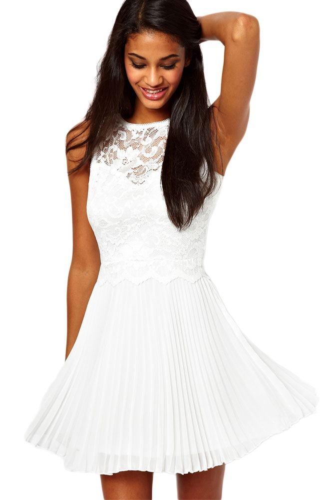 7f904c54d7 Pure White Lace Skater Dress -